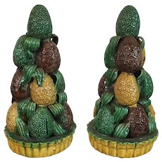 Pair Antique 18th century Chinese Kangxi Porcelain Altar Temple Fruit Pyramid of Lychee in Famille Vert Glaze