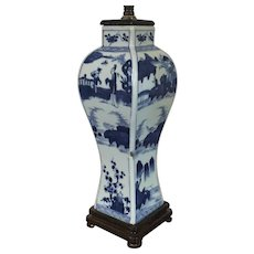 Antique 19th century Chinese Blue & White Porcelain Vase Decorated with Figures in Landscape Representing the Four Seasons Mounted as a Lamp