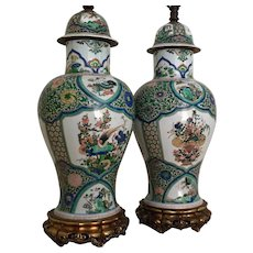 Very Large Pair Antique 19th century Samson Porcelain Famille Vert Vases / Jars and Covers Decorated with Precious Objects in the Chinese Kangxi Taste Mounted as Lamps