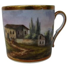 Antique 19th century French Empire Old Paris Porcelain Coffee Can Decorated with Continuous Hand Painted Landscape Scene