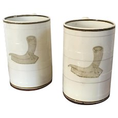 Rare Pair Large Antique Early 19th century Wedgwood Creamware Porter's Tankard Mugs for Beer or Ale 1810 Pusey Horn