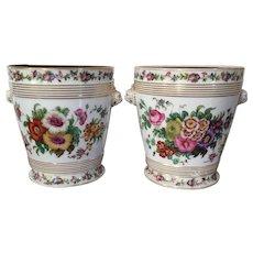 Pair Antique 19th century French Empire Old Paris Porcelain Cachepot Flower Pot Vase Planters on Stands with Lion Mask Handles