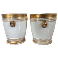 Pair Antique 19th century French Empire Old Paris Porcelain Cache Pot Planters or Flower Pots on Stands in White & Gold with Lion Mask Handles