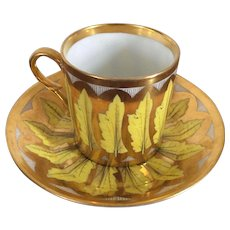 Antique Early 19th century French Empire Old Paris Porcelain Neoclassical Coffee Can Tea Cup & Saucer in Bright Yellow Leaves with Gold 1800 - 1810