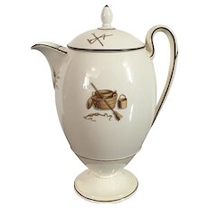 Early 19th century English Wedgwood Creamware Agricultural Devices Coffee Pot Decorated with Garden Implements and Domestic Tools c. 1810