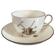 Early 19th century English George III Wedgwood Creamware Agricultural Devices Coffee Tea Cup & Saucer Decorated with Garden Implements and Domestic Tools c. 1810