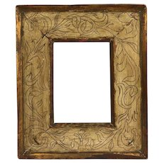 Antique Early 20th century Arts & Crafts Gilt and Paint Decorated Sgraffito Incised Wood Cassetta Picture Frame for Oil Painting, Drawing or Mirror 1900