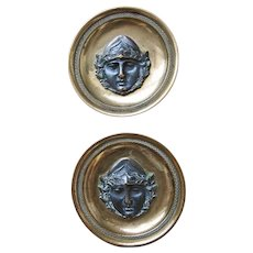 Pair Antique 19th century French Empire Gilt & Patinated Bronze Drapery Curtain Tie Back Roundel Rosettes with Classical Head Mask 1810