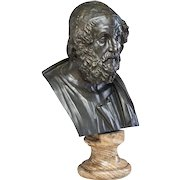 Large Antique 19th century Italian Grand Tour Library Bronze Classical Bust of Homer Mounted on Original Specimen Marble Column Socle