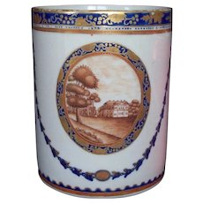 Large Antique Early 19th century Chinese Export Porcelain Tankard Mug for the American Federal Market 1800 - 1810
