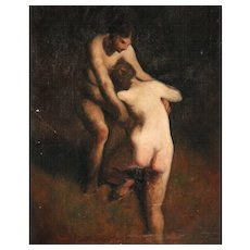 Antique 19th century French Impressionist Barbizon School Oil Painting on Canvas Study of Two Nude Women Bathers in the Manner of Jean Francois Millet