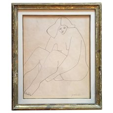 Stephen Pace (1918 - 2010) Figural Abstract Ink Drawing Seated Nude Woman Framed Under Glass with Silk Mat