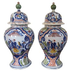 Pair 18th century Polychrome Delft Tin Glaze Faience Pottery Covered Baluster Vase Urns with Chinese Famille Verte Decoration 1765