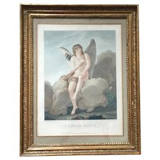 Antique Early 19th century French Empire Print Titled L'Amour Irrite by Alexandre Chaponnier Featuring a Winged Cherub or Cupid in Original Gilt Wood Frame