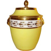 Antique Early 19th century French Empire Sevres Paris Porcelain Covered Sugar Urn or Sucrier in Bright Yellow with Lion Mask Handles 1800