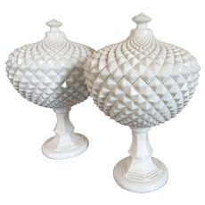 Pair Large Milk Glass Covered Fruit Bowl Centerpiece Urns with Overall Saw Tooth Design