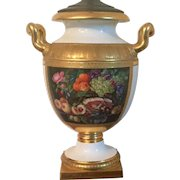 Monumental Early 19th century Continental German Porcelain Urn Vase with Floral Panel and D Monogram Mounted as a Lamp