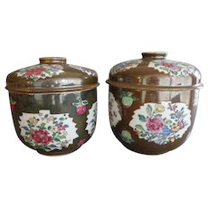 Large Pair Chinese Export Porcelain Batavian Café au Lait Jars & Covers Qianlong Period (1736-1795) Decorated with Tobacco Leaf Shaped Panels Containing Peonies on a Brown Ground
