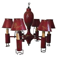 Antique French Empire Directoire Red Tole Peinte 6 Light Argand Chandelier