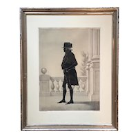 William Brown Kellogg Framed Silhouette Print of US Supreme Court Justice John Marshall in Silver Gilt Frame