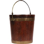 Antique George III Brass Bound Mahogany Peat Bucket with Bail Handle 18th century