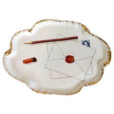 Antique 19th century French CFH GDM Haviland Limoges Porcelain Desk Tray Decorated with Tromp L'oeil Envelope with Wax Seal, Stamp, Pencil & Eraser