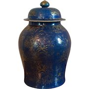 Very Large Antique 18th century Chinese Porcelain Palace Jar Vase & Cover in Powder Blue Glaze with Overall Gilt Decoration of Butterflies & Melons