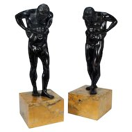 Pair 19th century Grand Tour Bronze Figures of Atlas Mounted on Siena Marble Plinths