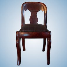 Miniature Antique 19th century American Empire Mahogany Salesman's Sample Chair with Horse Hair Slip Seat Doll House 1830