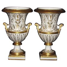 Pair Antique 18th century French Old Paris Porcelain White & Gold Urns or Vases in the Neoclassical Taste 1780 - 1790 Le Petit Carrousel
