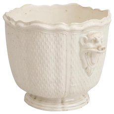 Antique 18th century French Pont-Aux-Choux Creamware Earthenware Cachepot Planter Wine Bottle Cooler or Seau a Bouteille in the Manner of Saint-Cloud with Grotesque Lion Mask Handles
