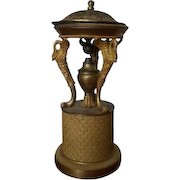 Antique Early 19th century French Empire Urn Form Gilt Bronze Brule Parfum or Incense Burner with Zoomorphic Swan Supports