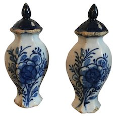 """Pair Miniature Dutch Delft Tin Glaze Faience Baluster Shape Blue & White Vases Urns and Covers Doll House Child's Toy 18th / 19th century 4 1/2"""" Tall"""