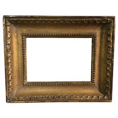 Antique Early 19th century French Empire Gilt Wood Picture Frame for Oil Painting or Needlework 1820