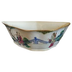 Antique 19th century Chinese Export Famille Rose Porcelain Dish or Bowl in the Shape of a Bat Decorated with Immortals in Landscape