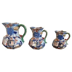 Set 3 Antique Early 19th century Graduated Mason's Ironstone Imari Pitchers Jugs with Lion Mask Serpent Dragon Handles