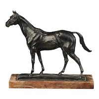 Gaston d'Illiers (1876 - 1952) Bronze Sculpture of a Horse Mounted on Marble Base