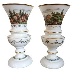 Large Pair Antique 19th century English White Bristol Glass Vase Urns with Hand Painted Country Landscape Scenes Enhanced by Gilding