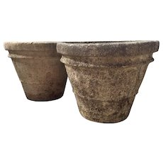 Pair Antique Early 20th century Crushed Stone Garden Flower Pots Garden Urns in the Neoclassical Taste