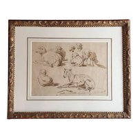 Dutch Ink Drawing - Study of Sheep in Period Louis XVI French Carved & Gilt Wood Frame 18th century