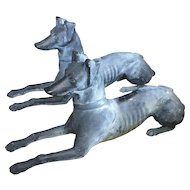 Large Pair Cast Iron Whippet Dog Form Garden Sculpture Ornaments with Gray Lead / Zinc Surface 1930's