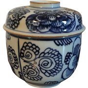 Antique 18th century Chinese Kangxi Blue & White Porcelain Jar and Cover