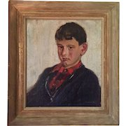 Hulda Parton Walton (1879 - 1962) Portrait of a Young Boy Oil Painting on Canvas in Period Frame Pre-War 1930's