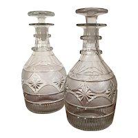 Good Pair Antique 19th century English Anglo Irish Glass George III Regency Cut Crystal Wine Whiskey Spirit Decanters