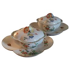 Pair Antique 18th century French Chantilly Porcelain Sugar Tureens / Bowls and Trays in the Japanese Kakiemon Taste 1735 - 1740