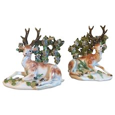 Pair Antique 18th century English George III Derby Porcelain Models of Recumbent Deer - Stag, Buck at Lodge