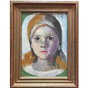 Art Deco Portrait of a Young Girl, New York City 1930's by Philip Sawyer Oil Painting on Wood Panel