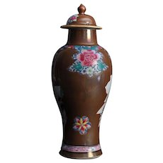 Antique 18th century Chinese Export Batavian Porcelain Vase & Cover in Famille Rose Glaze; Tobacco Leaf & Scroll Reserves Decorated with Landscapes en Grisaille