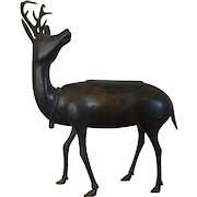 Antique 19th century Chinese Bronze Censer Incense Burner in the Form of a Deer or Reindeer