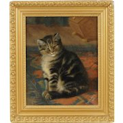 Antique 19th century Victorian Oil Painting on Canvas Portrait of a Tiger Cat or Kitten Sitting on an Oriental Carpet